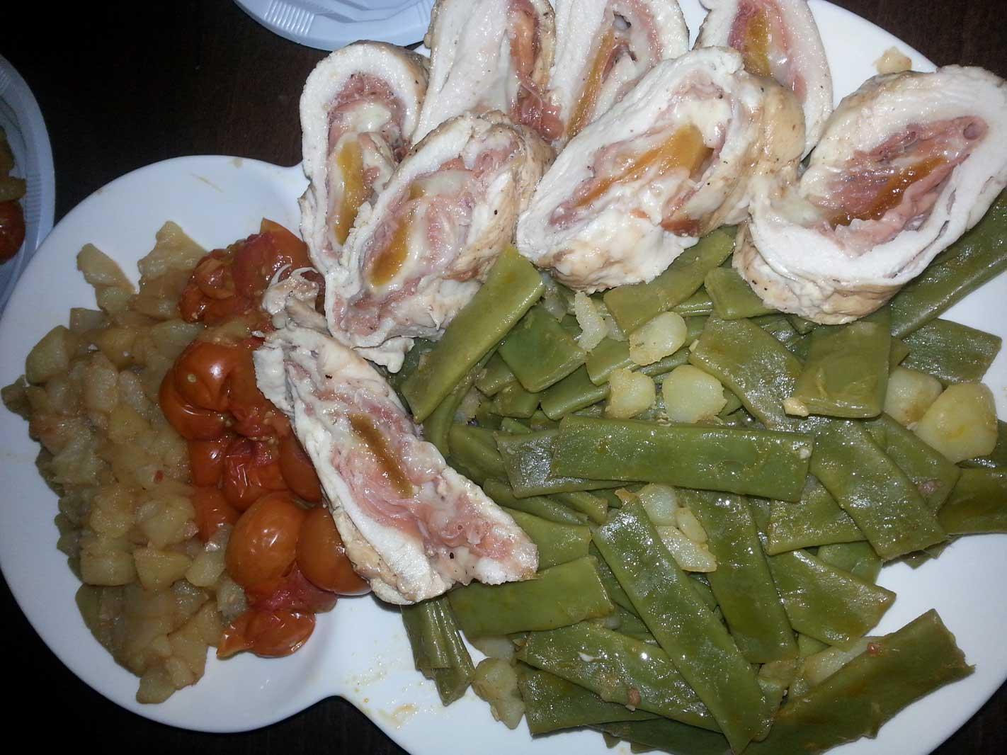 MENU_Sopa de Jamón y Esparragos, Vainas con patatas y Rollo de pollo relleno