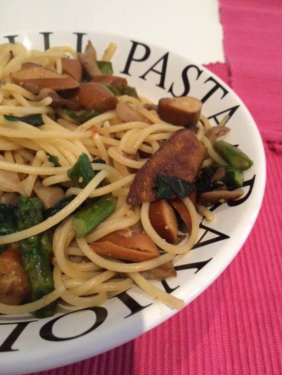 Espaguetis con seitan (Vegetariano)