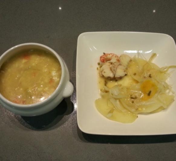 MENU_Sopa de Pollo y Pescado con Gambón, patatas y salsa de naranja