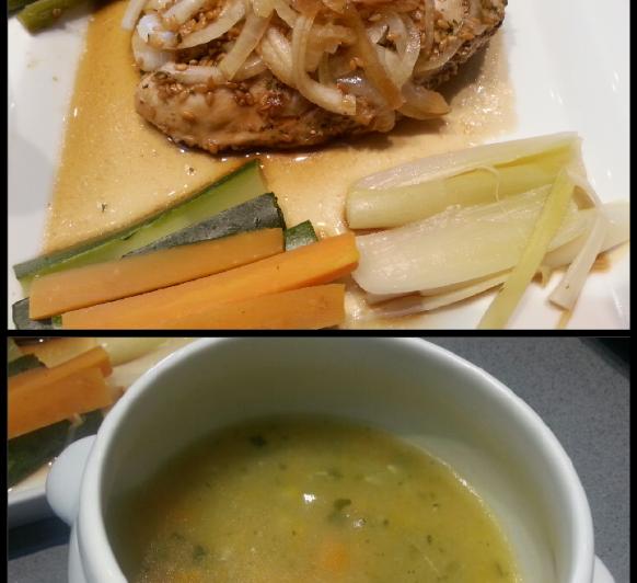 MENU_Sopa de Verduras y Pechuga de Pollo en Papillote con verduras